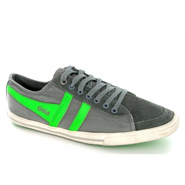 Gola-QUOTA-Mens-Distressed-Suede-Leather-Canvas-Lace-Up-Shoes-Trainers-Grey-Lime