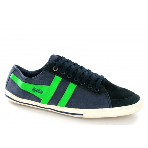 Gola-QUOTA-Mens-Distressed-Suede-Leather-Canvas-Lace-Up-Shoes-Trainers-Navy-Lime