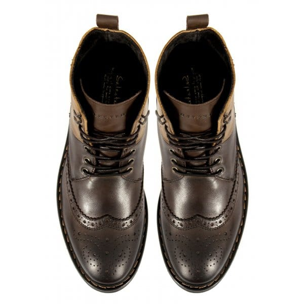 Selected Phil Mens Leather Brogue Lace Up Boots Brown Buy At Shuperb