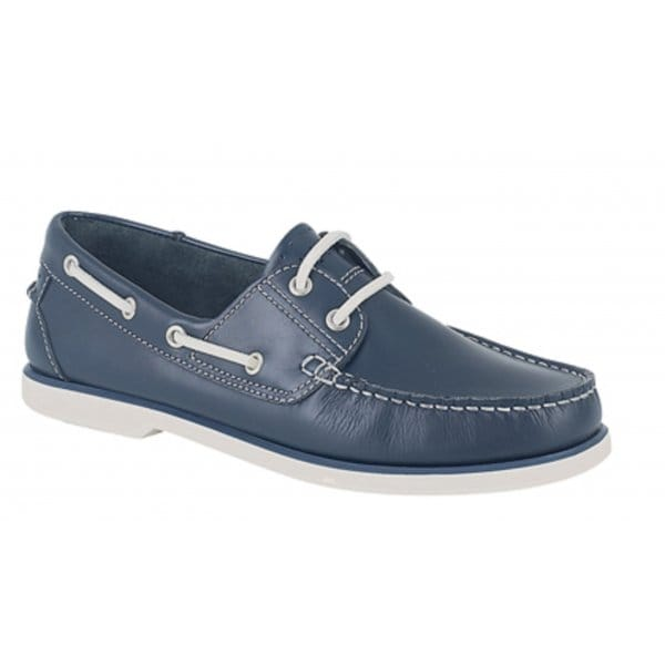 Mens-Womens-Ladies-Leather-Contrast-Lace-Up-Casual-Moccasin-Boat-Shoes-Navy-Blue