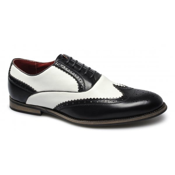 Giovanni-Mens-Leather-Lined-Funky-Gangster-Two-Tone-Brogue-Shoes-Black-amp-White