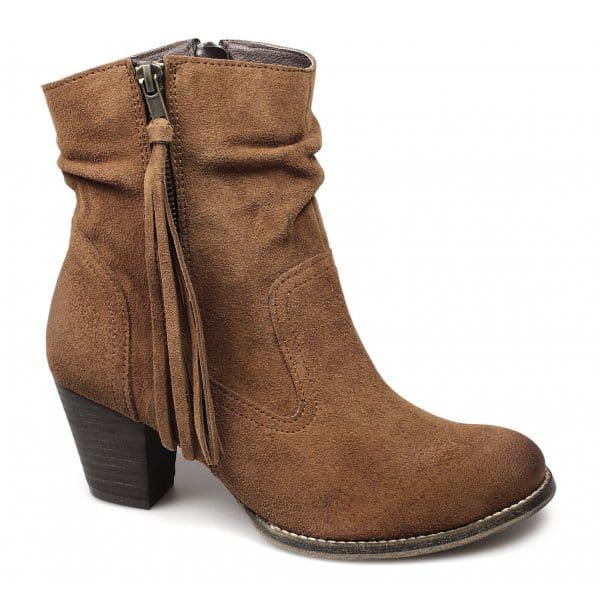 barratts hoyland womens suede leather zip tassel