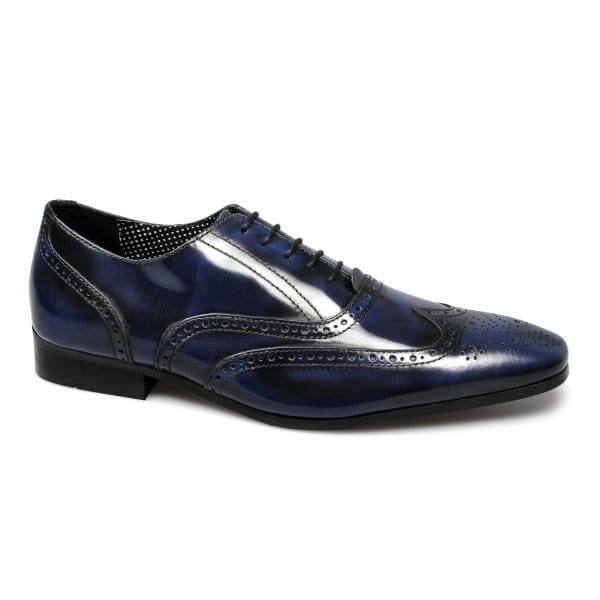 London-Brogues-CLAPHAM-Mens-Polished-Leather-Chisel-Toe-Formal-Brogue-Shoes-Navy