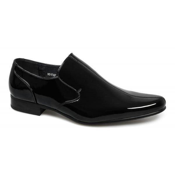 goor mens faux patent leather pointed slip on evening