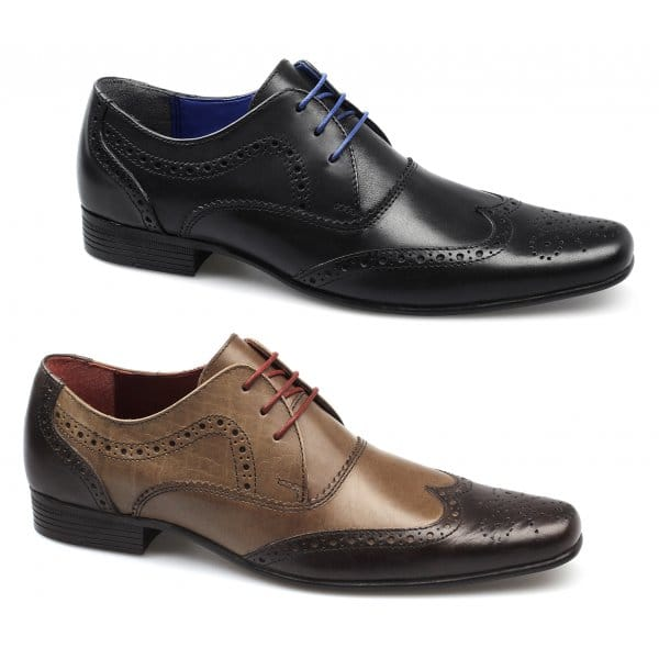 mens leather lace up slip on padded brogue work