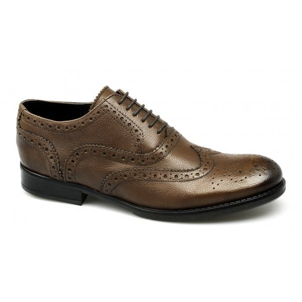 Mens-Soft-Leather-Brogue-Wingtip-Lace-Up-Formal-Office-Shoes-Burnished-Brown-New
