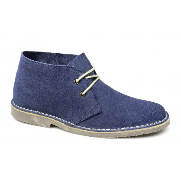 ... Mens-Suede-Leather-Comfy-Lace-Up-Casual-Ankle-Desert-Boots-Blue-Jeans