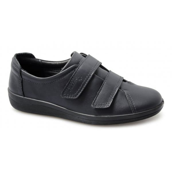 Velcro Fastening Wide Fit Comfort Shoes Black