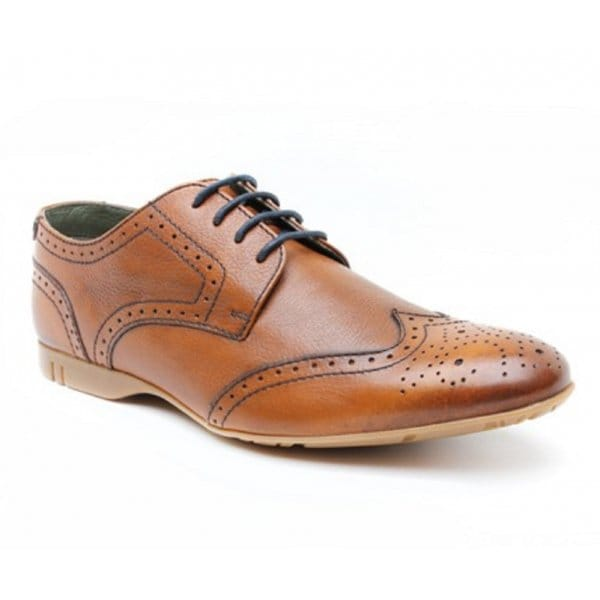 base forte mens leather comfy brogue shoes