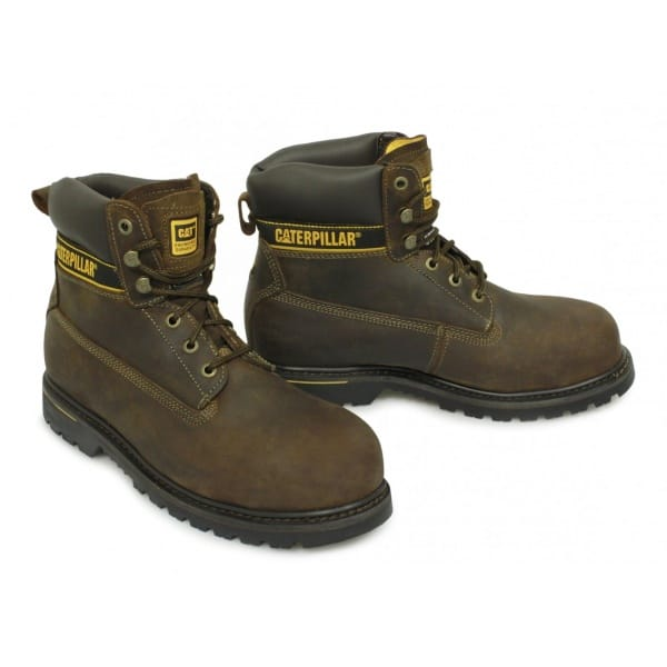 caterpillar holton mens welted leather safety boots brown