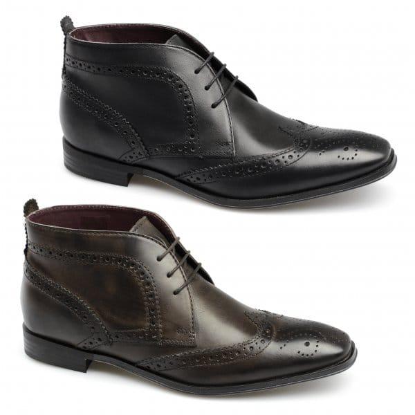 ikon jones mens leather brogue chukka boots black buy at