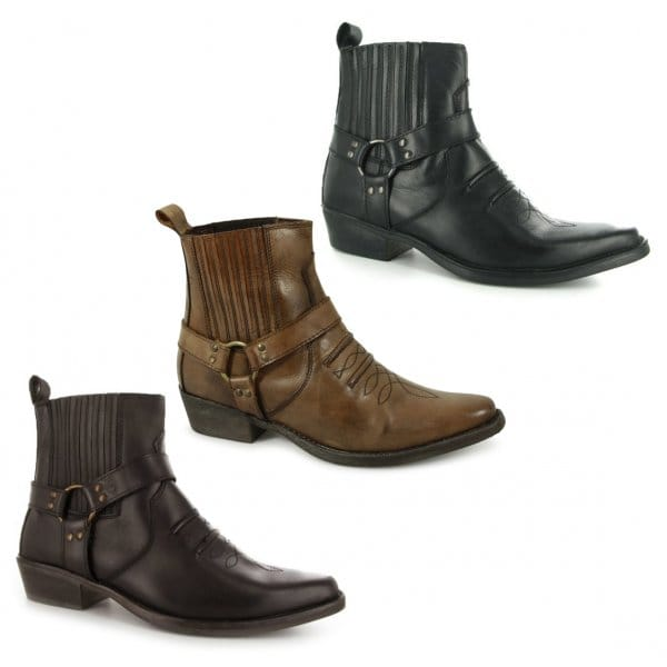 maverick mens soft leather cowboy boots burnished