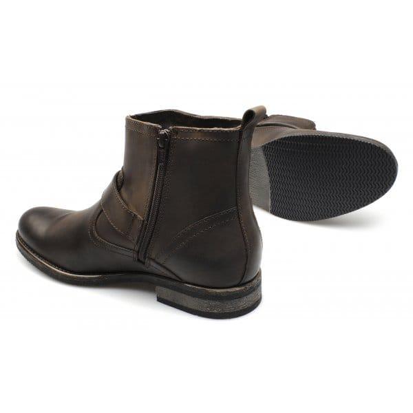 ikon mens leather buckle zip biker boots brown buy
