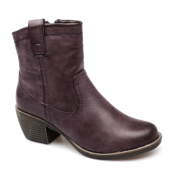 womens faux leather zip soft western ankle