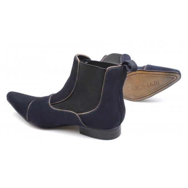 gucinari mens suede pointed dealer boots navy blue buy