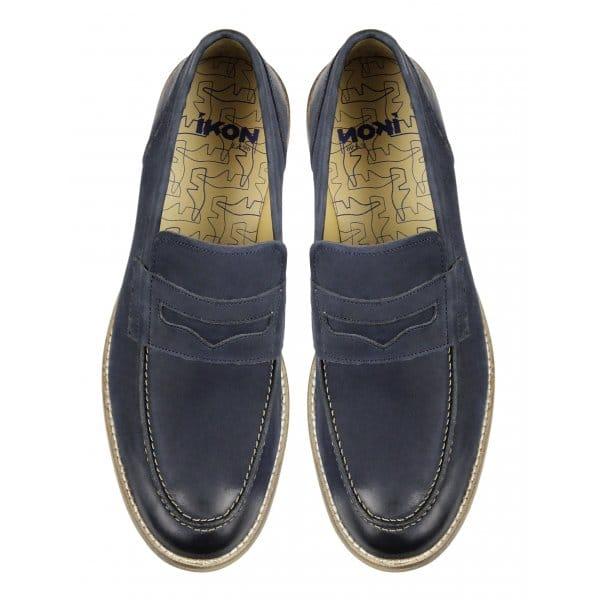 Ikon marner mens leather office slip on penny loafers navy shuperb