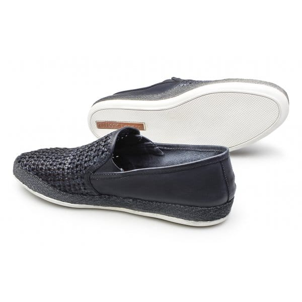 base stage weave mens leather espadrille shoes blue