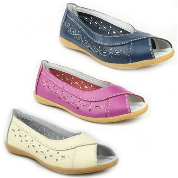 Amblers Rococo Ladies Leather Peep Toe Flat Shoes Navy