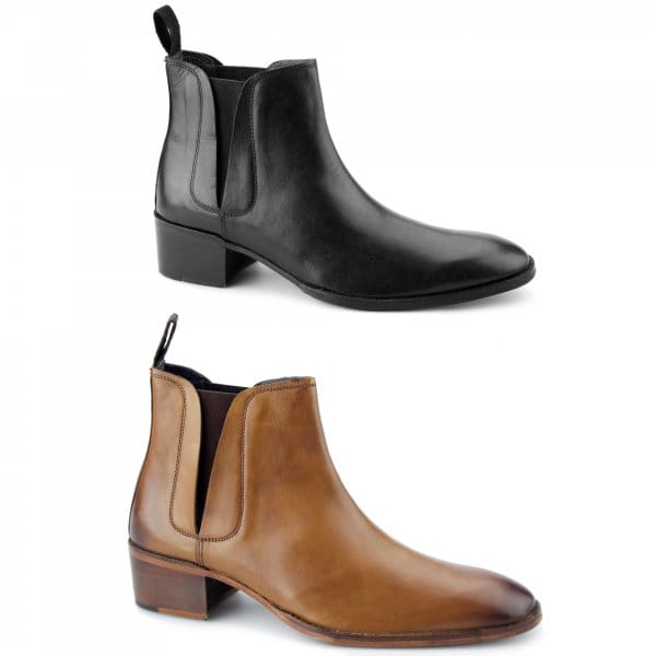 gucinari george mens cuban heel chelsea boots brown