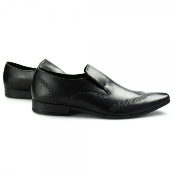 Ikon VINNIE Mens Leather Slip On Loafers Black Buy At Shuperb