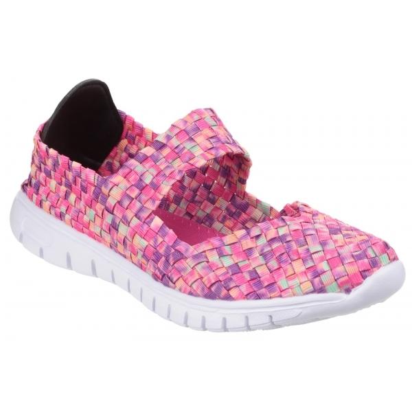Divaz DRIFT Ladies Women Woven Mary Jane Slip On Comfort Casual Shoes Light Pink