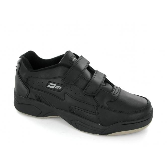 DEK ARIZONA Mens Leather Twin Velcro Trainers Black