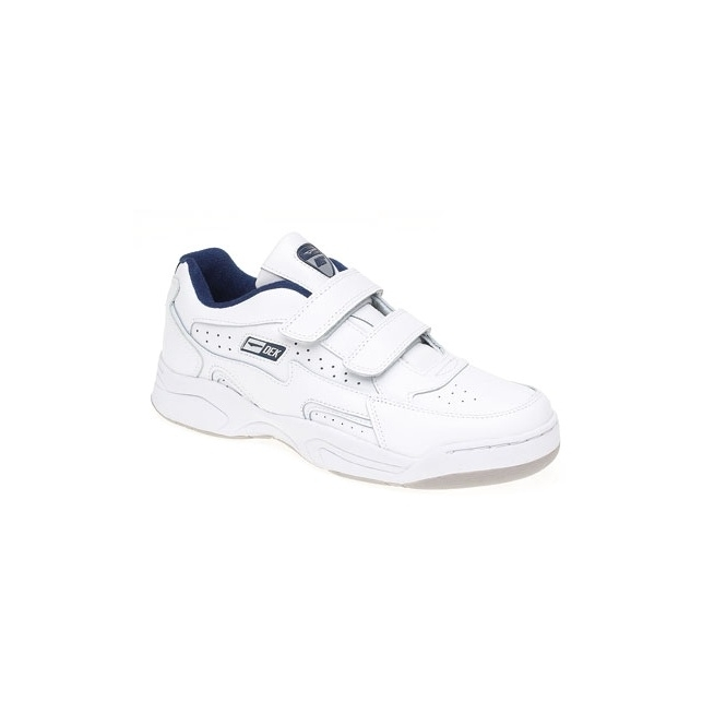 DEK ARIZONA Mens Leather Twin Velcro Trainers White