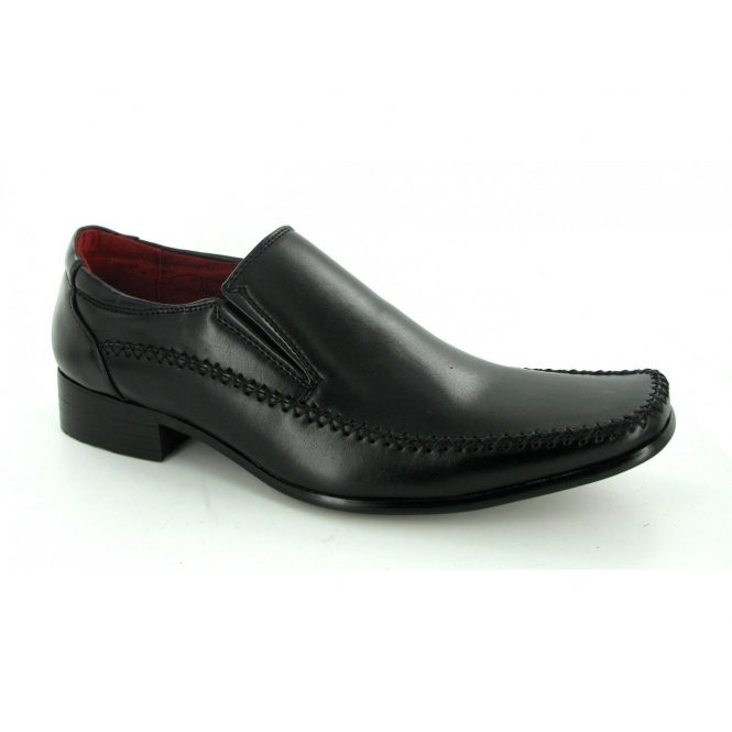 shoebase mens slip on faux leather loafers shoes black