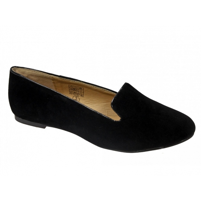Shuperb TRACY Ladies Faux Suede Dolly Shoes Black