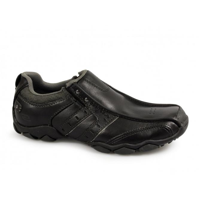 Skechers DIAMETER HEISMAN Mens Slip-On Leather Shoes Black