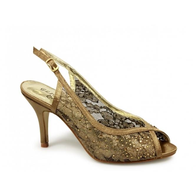womens open peep toe satin lace slingback