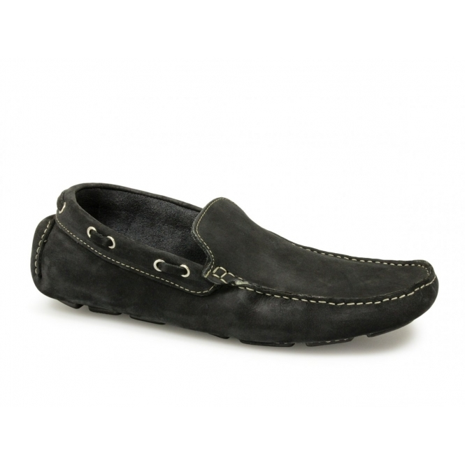 Mens slip on leather casual driving shoes penny loafers moccasins navy