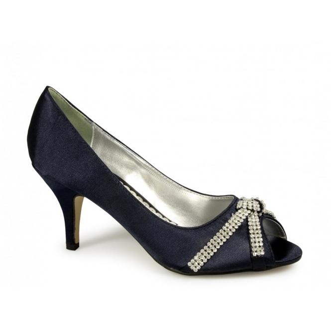 Fuschia Low Heel Wedding Shoes: Glitz STELLA Ladies Low Heel Satin Diamante Shoes Navy