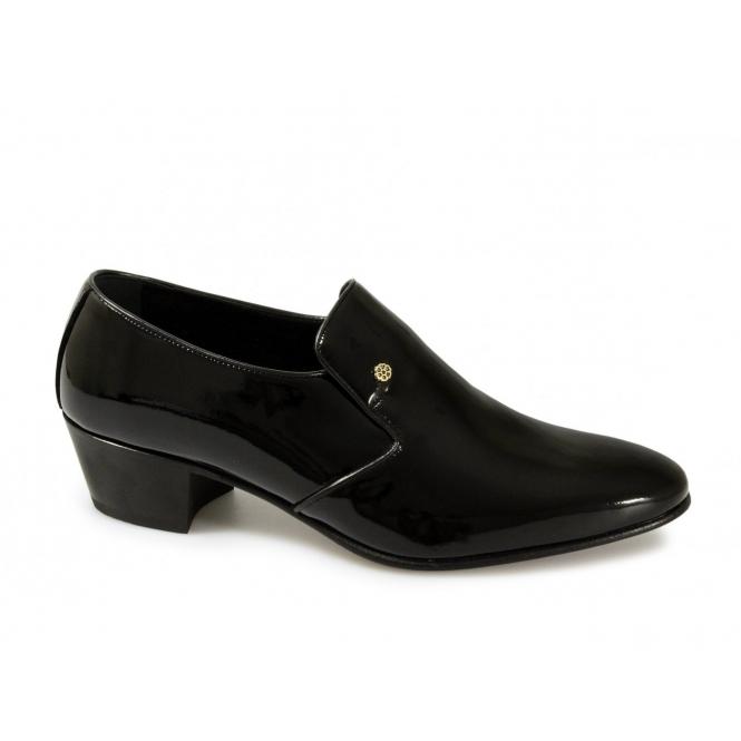 Shuperb NASSER Mens Patent Leather Plain Cuban Heel Shoes Black