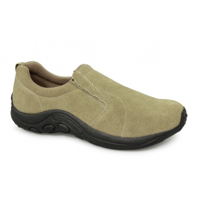 PDQ RYNO Unisex Twin Gusset Jungle Casual Suede Trainers Taupe