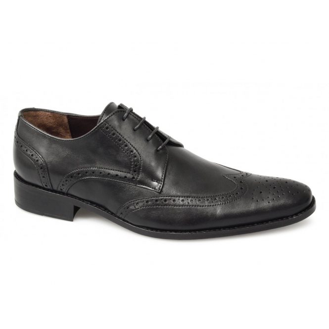 J. Bradford BALTHAZAR Mens Leather Brogue Shoes Black
