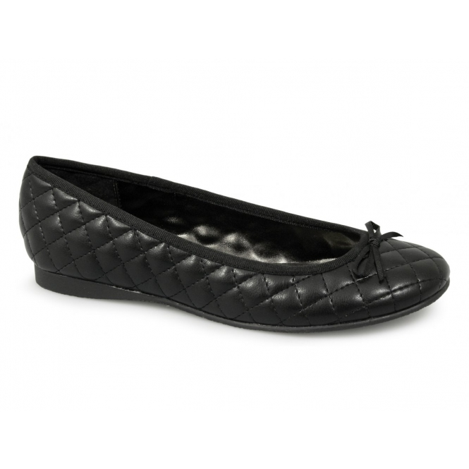 Boulevard DALIA Ladies Cushioned Ballerina Pumps Black