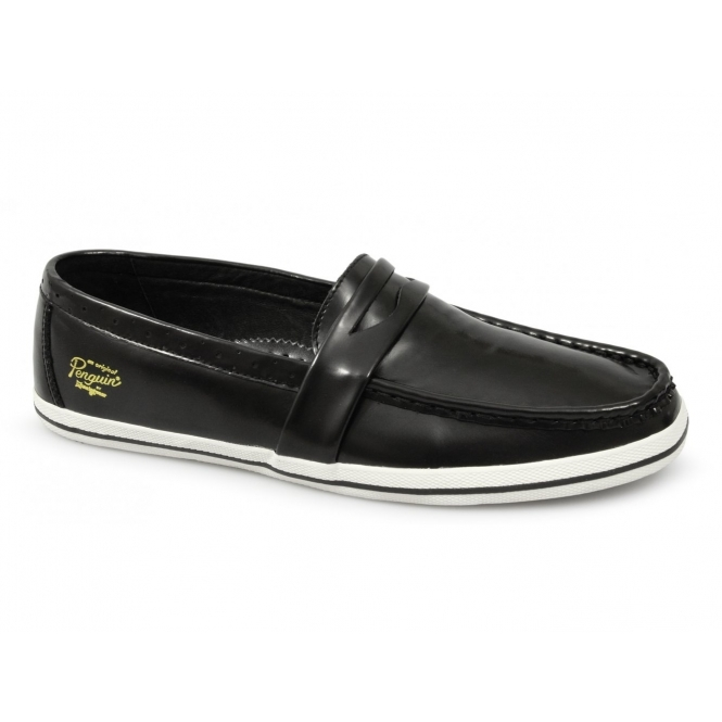 Penguin RUFUS Mens Leather Penny Loafers Black