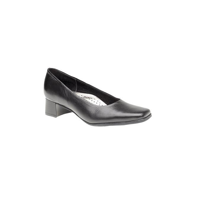 Mod Comfys TARA Ladies Low Block Heel Court Shoes Black