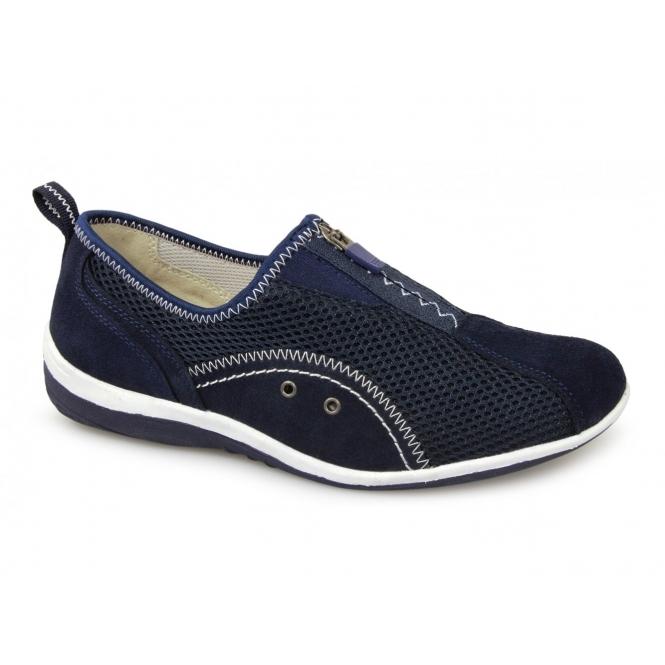 Boulevard KIMBERLEY Ladies Centre Zip Mesh Leisure Shoes Navy