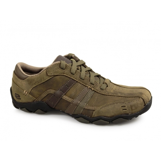 skechers diameter vessell mens lace up trainers brown