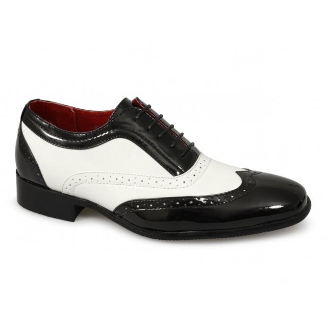 Rossellini BORSALINO Mens Brogue Patent Shoes Black/White