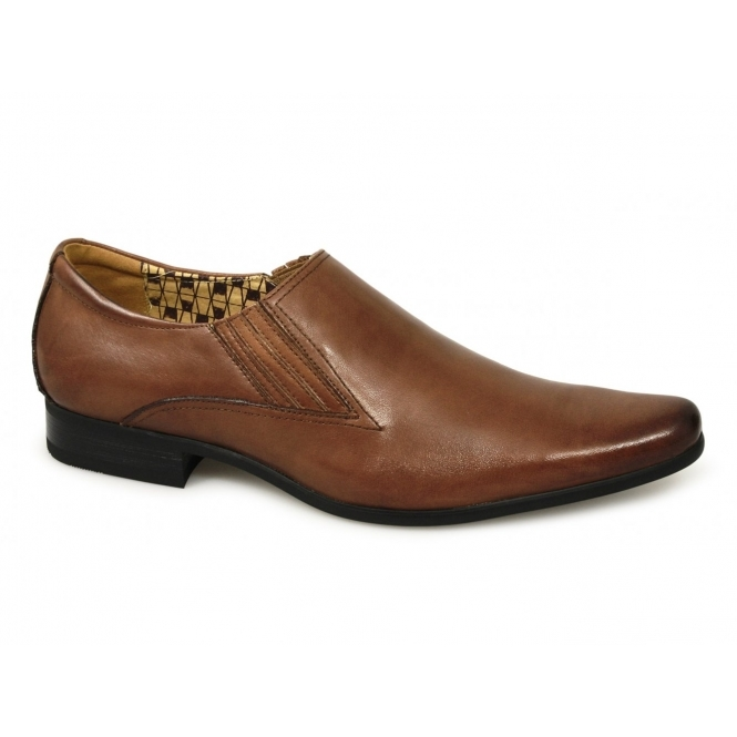 Front ENZO II Mens Leather Slip On Pointed Shoes Tan