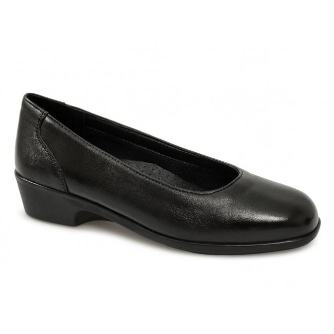 Mod Comfys ALEXIS Ladies Leather Wedge Court Shoes Black