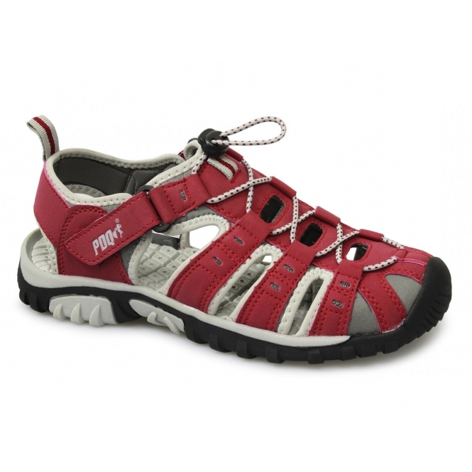 PDQ SASHA Ladies Toggle & Velcro Summer Trail Sandals Red