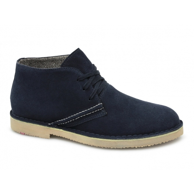 BXT COOK Mens Suede Leather Desert Boots Navy