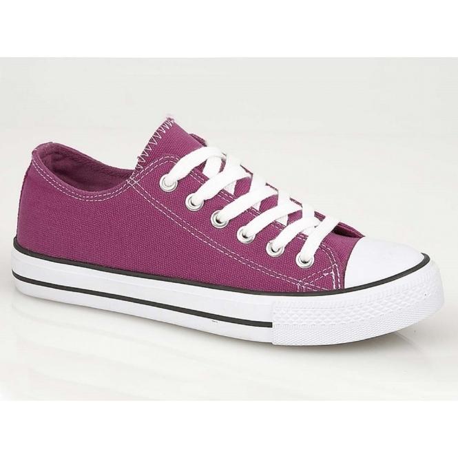 DEK BELLE Ladies Lace Up Toe Cap Canvas Plimsolls Purple