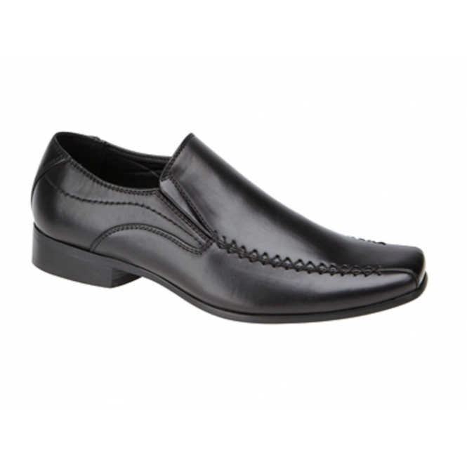 US Brass RAVEN Mens Faux Leather Slip On Shoes Black