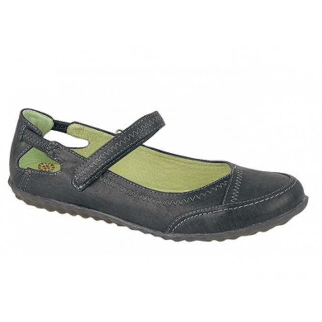 Boulevard CLEO Ladies Leather Lined Velcro Bar Shoes Black