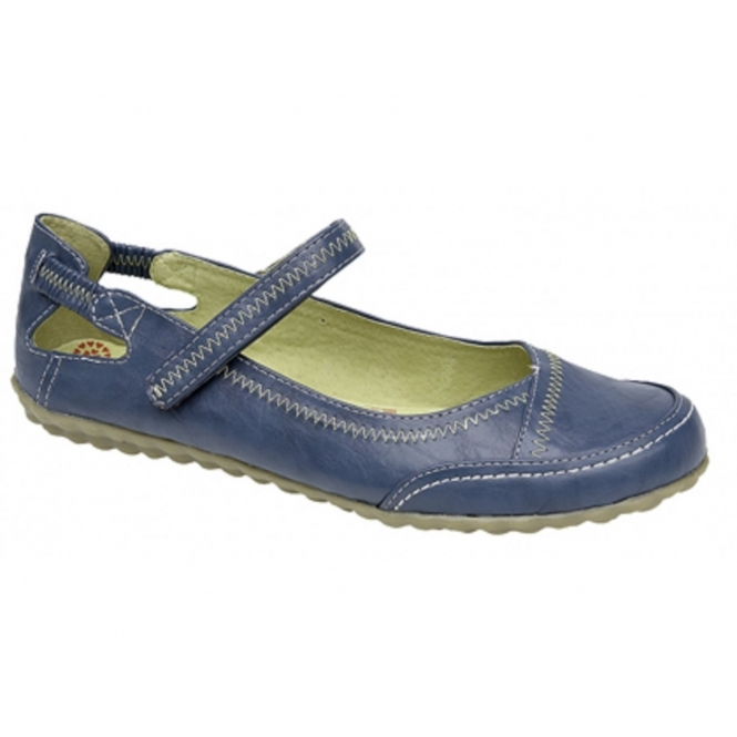 Boulevard CLEO Ladies Leather Lined Velcro Bar Shoes Blue
